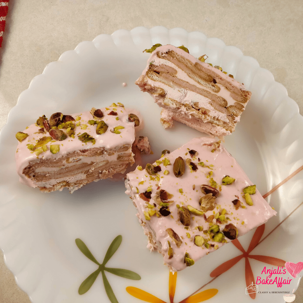 eggless rose and pistachio dessert