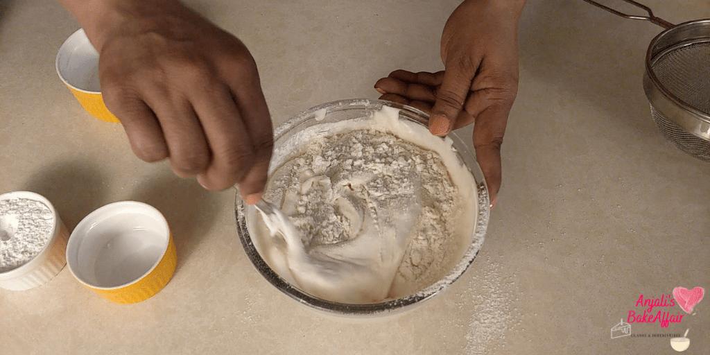 folding flour in batter